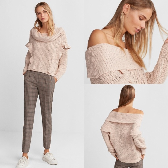 b5e37ee4ebc Blush Oversized ruffle cowl neck sweater.